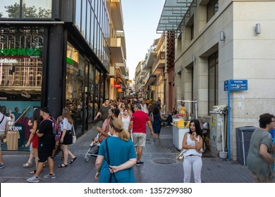 135c0da3b2bff Greece, Heraklion, August 2018: One of the streets in the city of Heraklion