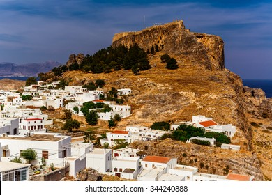 Greece, island Rhodes. Top view to the city Lindos and Acropolis