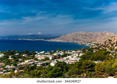 Greece, island Rhodes. Top view to the sea and village Pefkos