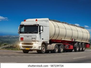 GREECE. ISLAND RODOS- June 16, 2013. Trailer tanker truck on the highway.. Greece, Rhodes  16.06.2013