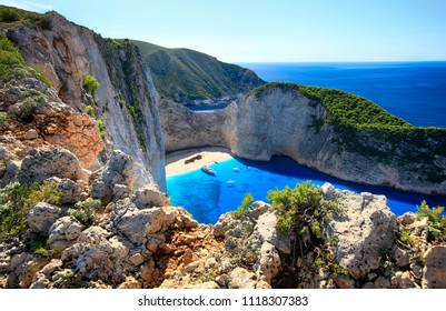 Greece, the island of Zakynthos. Beautiful view from above to Navagio beach