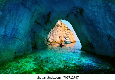Greece, The island of Zakynthos. One of the most beautiful blue caves in the world. The Ionian Sea.  Blue caves of the island of Zakynthos