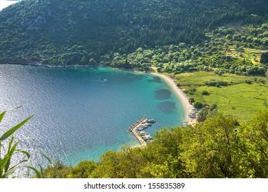 Greece ithaki island, panoramic view of the sea by the main harbor of ithaka island