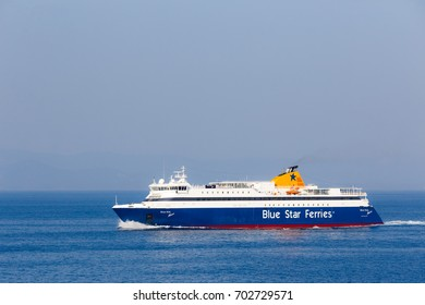 GREECE - JULY 2017: Blue Star ferry boat, cruising at calm sea against a blue sky.  Blue Star Ferries is one of the largest Greek shipping companies operating in Greece and the wider Mediterranean.