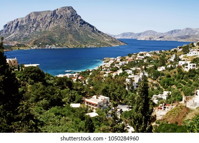 Greece, Kalymnos, the village of Myrties and directly opposite of it, the island of Telendos.
