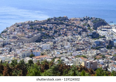 Greece, Kavala, city with ancient aqueduct Kamares and castle