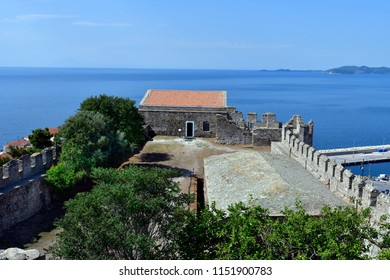 Greece, Kavala, inside medieval castle with view to Aegean sea
