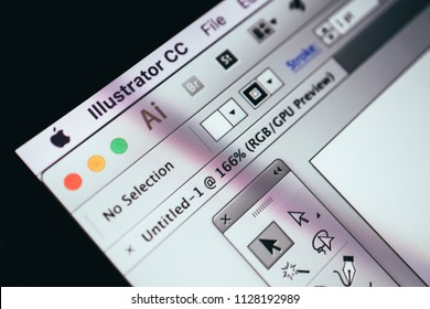 Greece, Kavala - January 15, 2018:  Adobe Illustrator application on a screen of macbook, close-up.