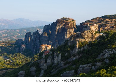 Greece. Meteora - incredible sandstone rock formations. The Holly Monastery at sunrise.