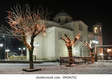 Greece. Meteora. Kastraki village. Eve of the Epiphany decoration of the snow-covered church at night