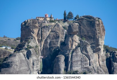 Greece Meteora monastery of Varlaam view from the base of the mountain