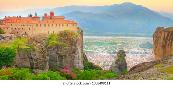 Greece, monastery of Meteora world famous site at sunset, panoramic view