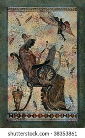 Greece mural painting, Woman -mythical muse - harp