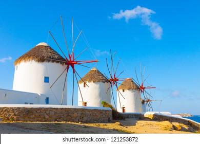 Greece Mykonos Windmills with blue sky in Mykonos Island Greece Cyclades