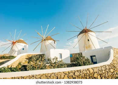 Greece Mykonos Windmills with blue sky in island Mykonos Island Greece Cyclades