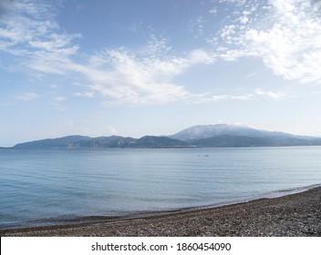 Greece Nafpaktos Psani Beach landscape - Shutterstock ID 1860454090