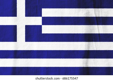 Greece national flag from fabric for graphic design.