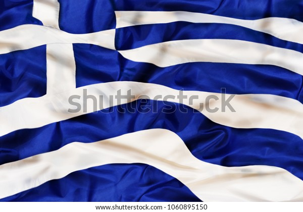 Greece national flag with waving fabric