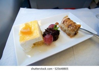 GREECE - OCTOBER 15th, 2016: greek Business Class meal in a plane with dessert.