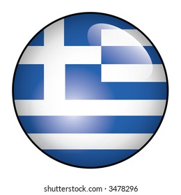 Greece official flag glossy button