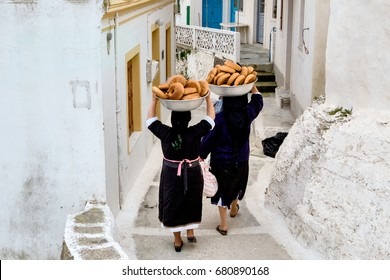 Greece, In Olympos, on Karpathos Island,   just  cooking bread for Easter in a traditional  community oven