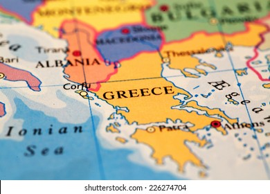 Greece  on atlas world map