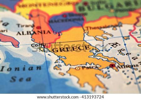Greece On Atlas World Map Stockfoto (Jetzt bearbeiten) 413193724 ...