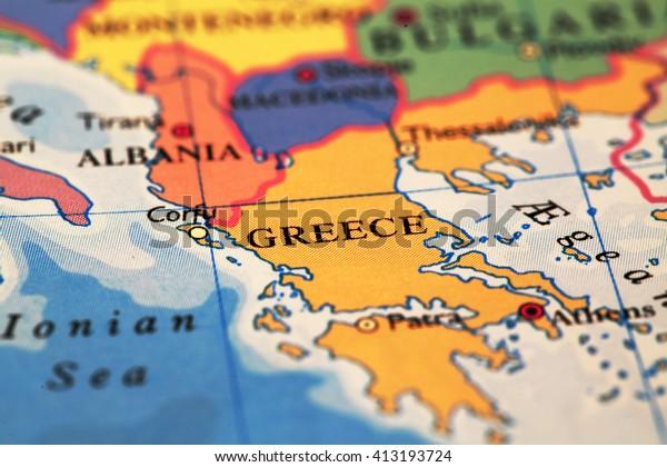 Greece On Atlas World Map Stockfoto (Jetzt bearbeiten) 413193724