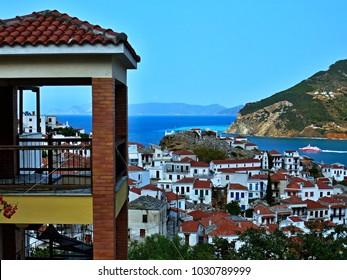 Greece- outlook on the town Skopelos on Skopelos Island
