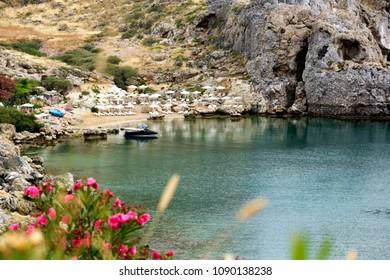 Greece, Rhodes Island -30.05.2017, Agios Pavlos Bay, the beautiful bay of the island of Rhodes-Agios Pavlos.
