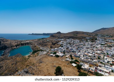 Greece, Rhodes island, Lindos. View on St. Paul's Bay and Lindos town.