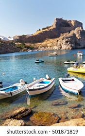 Greece. Rhodes. Saint Pauls Bay and ancient Acropolis of Lindos
