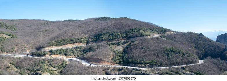 Greece the road to Meteora monasteries panoramic view