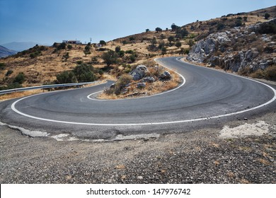 Greece, the road in the mountains