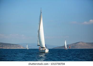 Greece sailing yacht boat at Aegean Sea. Luxury cruise yachting.