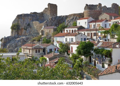 Greece, Samothrace, houses and ruins of medieval fortress in mountain village Chora on the island in aegean sea.