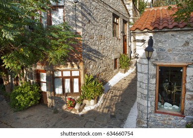 Greece, Samothrace, houses and shops in mountain village Chora on the island in aegean sea.