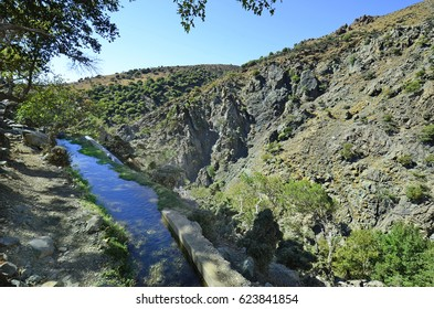 Greece, Samothrace island, watering system in Xiropotamos valley