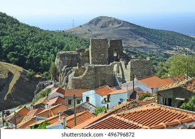 Greece, Samothrace, medieval castle and homes in Chora