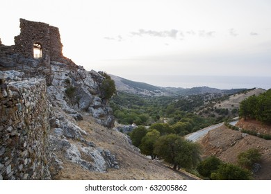 Greece, Samothrace, ruins of medieval fortress in mountain village Chora on the island in aegean sea.