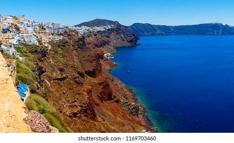 Greece Santorini beautiful panorama of the island slopes of the sea and boats