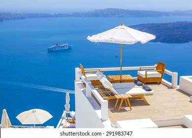 Greece Santorini island, caldera view with cruise ship on sea