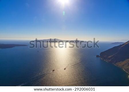 Greece Santorini Island Caldera View Above Stock Photo (Edit Now