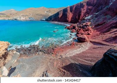 Greece Santorini island in Cyclades,  beautiful  wide panoramic view of read beach