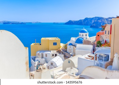 Greece Santorini island in Cyclades,wide view of white orthodox church with sea background