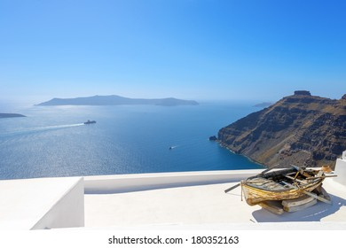 Greece Santorini island panoramic view of the sea, above oia in  caldera with rooftops of whitewashed houses with sea background in Cyclades