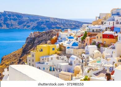 Greece Santorini island sights in Fira