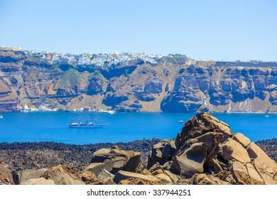 Greece Santorini nea Kameni volcano island