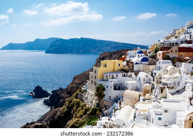 GREECE, SANTORINI- OCT 3: Top view to the sea and village Oia. October 3, 2014