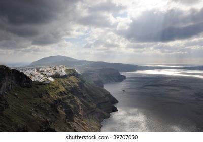 Greece. Santorni. View on caldera, sea and town of Fira.